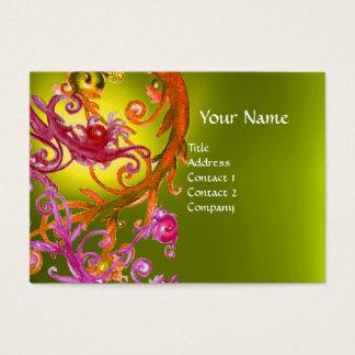 RED BERRIES SWIRLS GEMSTONE yellow Business Card