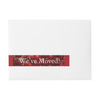 Red berries we've moved Christmas label Wraparound Address Label