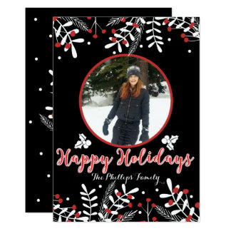 Red Berries White Leaves Black Holiday Photo Card