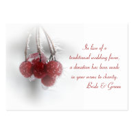 Red Berries Winter Wedding Charity Favor Card Business Card Templates