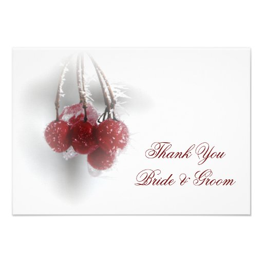 Red Berries Winter Wedding Thank You Notes Flat Personalized Invitation