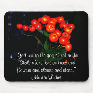 Red berries with Martin Luther quote Mouse Pad