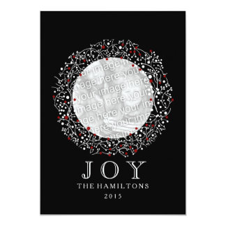 Red Berries Wreath + Black + White Christmas Card