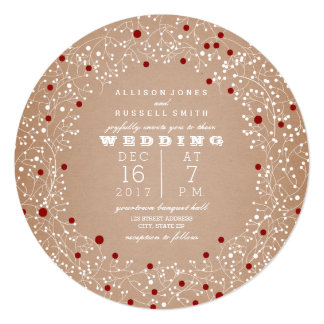 Red Berries Wreath Round Christmas Wedding Invitation
