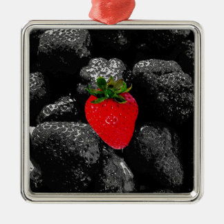 Red Berry Among The Dark Metal Ornament