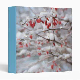 Red Berry Bush in Winter Painting 3 Ring Binder