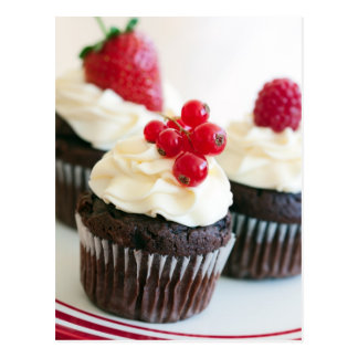 Red berry cupcakes postcard