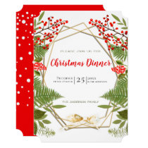 Red Berry Gold Geometric Frame Christmas Holiday Invitation