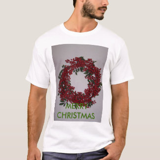 Red Berry Wreath, MERRY CHRISTMAS T-Shirt