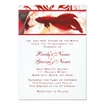 "Red Betta Fish Wedding Invitation 5"" X 7"" Invitation Card"