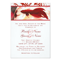 Red Betta Fish Wedding Invitation
