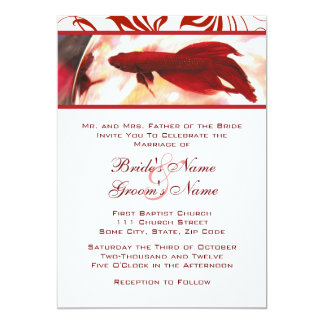 Red Betta Fish Wedding Invitation
