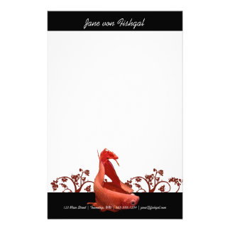 Red Betta Fish with Nature Accents Stationery