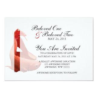 Red Betta Siamese Fighting Fish 5x7 Paper Invitation Card