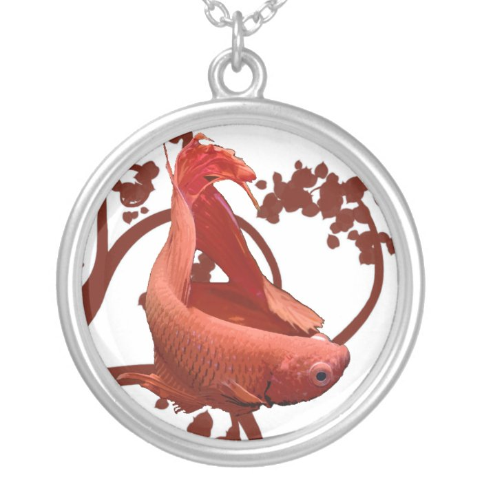 Red Betta Siamese Fighting Fish Silver Plated Necklace