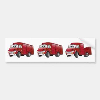 Red Beverage Truck Cartoon Bumper Sticker