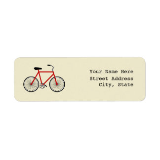 Red Bicycle Address Label