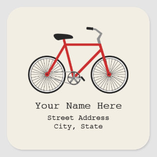 Red Bicycle Address Sticker