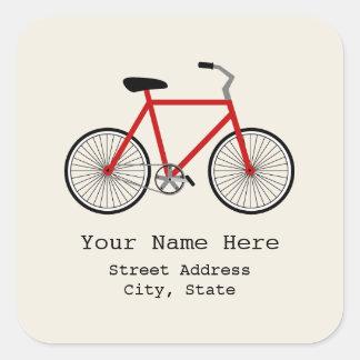 Red Bicycle Address Sticker