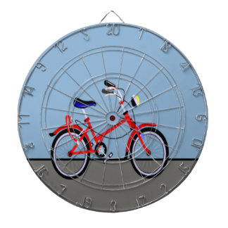 Red Bicycle and Road Name Customizable Dartboard With Darts
