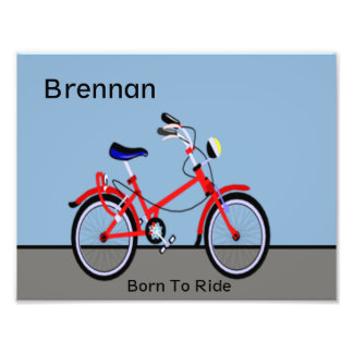 Red Bicycle and Road Name Customizable Photo Print