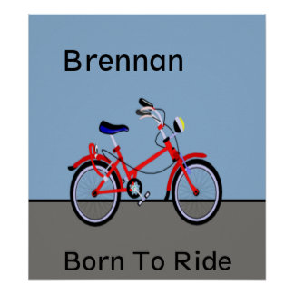 Red Bicycle and Road Name Customizable Poster