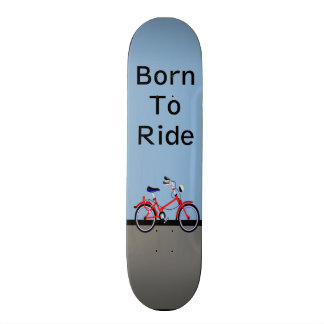 Red Bicycle and Road Name Customizable Skateboard