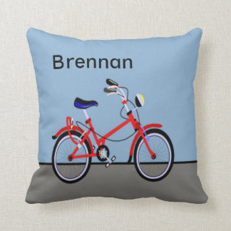Red Bicycle and Road Name Customizable Throw Pillow