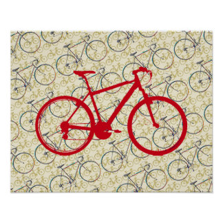 red bicycle . bike-decor poster