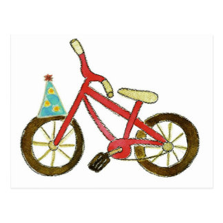 Red Bicycle Birthday Hat Postcard