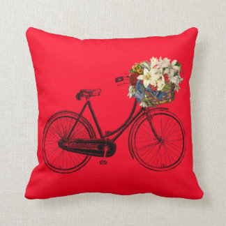 Red  bicycle flower Throw pillow
