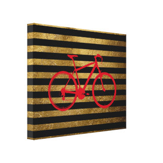 red bicycle & golden/black stripes stretched canvas print