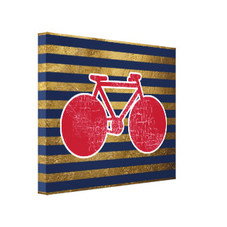 red bicycle & golden/blue stripes canvas print