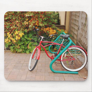 Red bicycle mousepad