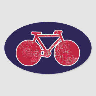 red Bicycle Oval Sticker