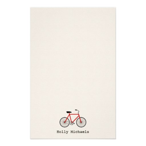 Red Bicycle Personalized Stationery