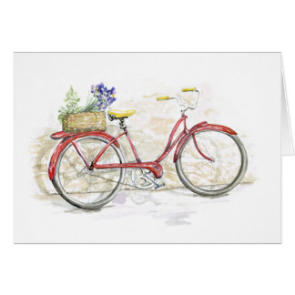 Red Bicycle with Basket Card