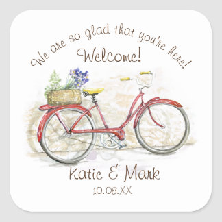 Red Bicycle with Basket Welcome Square Sticker