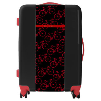 red-bicycles pattern, sporting cycling cool black luggage