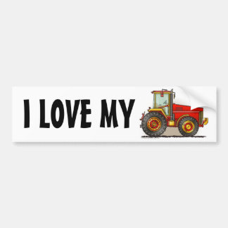 """""""Red Big Tractor, I LOVE MY…Bumper Stickers"""""""