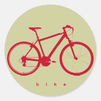 red bike, cycling classic round sticker