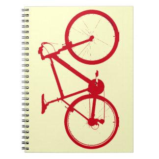 red bike, cycling notebooks