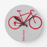 red bike, cycling round clock