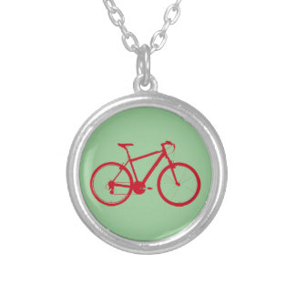 red bike, cycling silver plated necklace