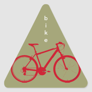 red bike, cycling triangle sticker