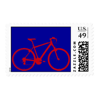 red bike in blue stamp