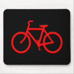 """Red Bike Mouse Pad<br><div class=""""desc"""">Simple bike symbol in black and red. If you&#39;d like to add a text message try the code FF0000 for color value.</div>"""