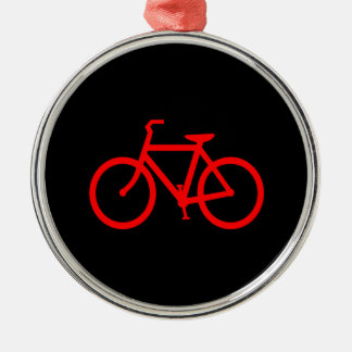 Red Bike Round Metal Christmas Ornament