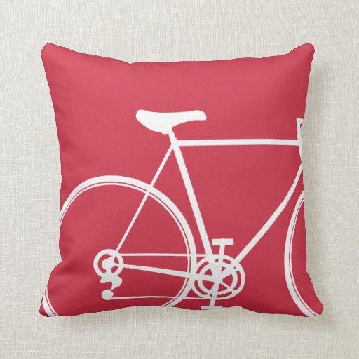 Throw Pillows With Bikes : Red bike throw pillow Zazzle