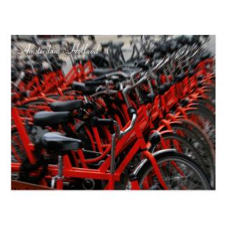Red bikes. Amsterdam, Holland Postcard